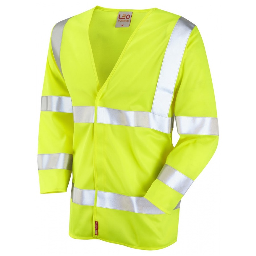 Leo Workwear S10-Y Cranford Hi Vis Limited Flame Spread 3/4 Sleeve Waistcoat Yellow