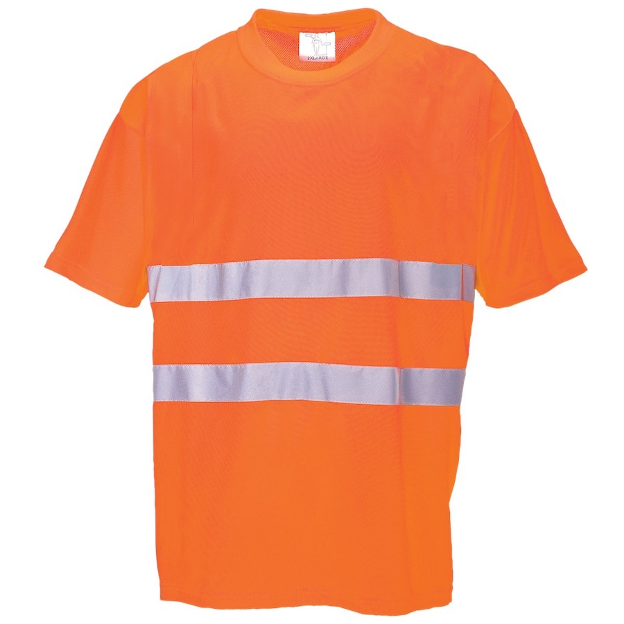 Portwest s172 cotton comfort hi vis t shirt orange bk for Hi vis t shirt printing