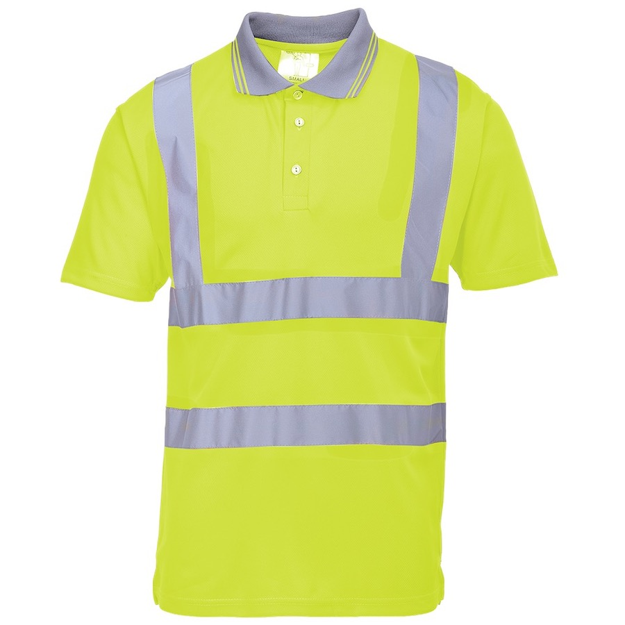 Portwest s477 hi vis short sleeved polo shirt yellow bk for Hi vis safety shirts