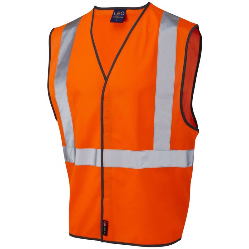 Leo Workwear W14-O Lapford Railway Vest Waistcoat Orange