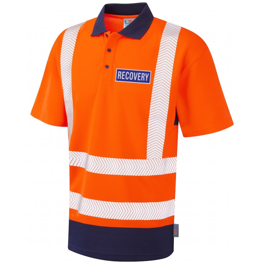 Leo Workwear P11-O/NV Mortehoe Hi Vis Recovery Workwear Dual Colour Coolviz Plus Polo Shirt Orange / Navy With Reflective Recovery Badges