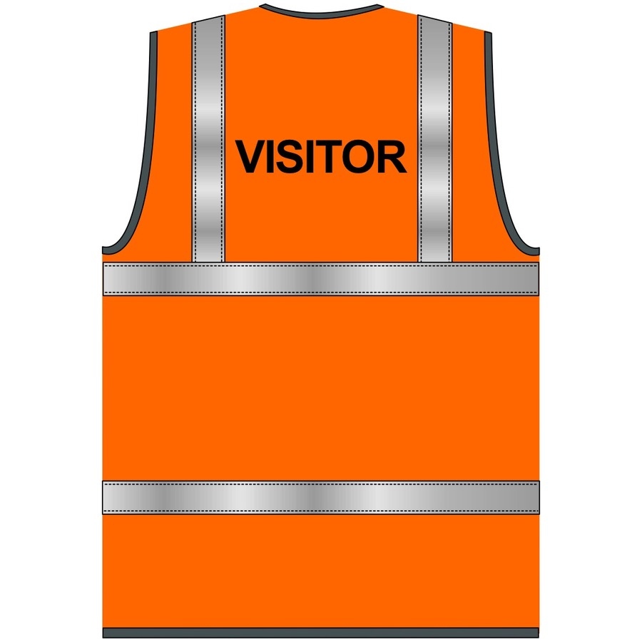 Visitor Text Hi Vis Waistcoat Orange