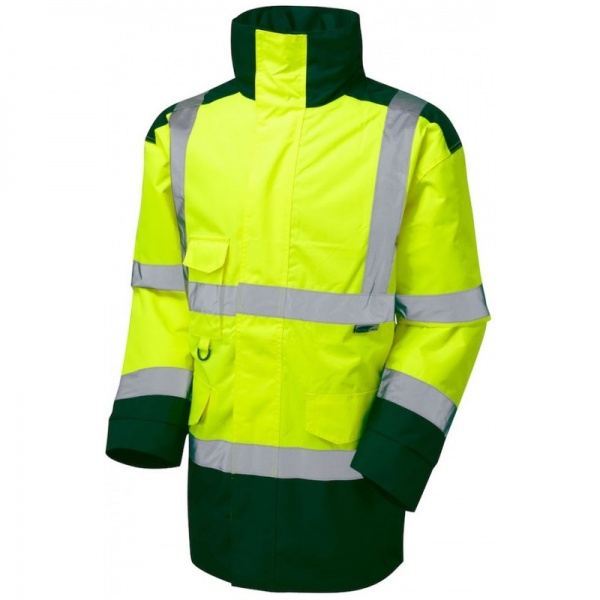 Leo Workwear A01-Y/BT Tawstock Hi Vis Jacket Yellow / Bottle Green