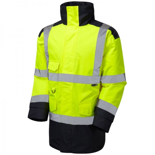 Leo Workwear A01-Y/NV Tawstock Hi Vis Jacket Yellow / Navy