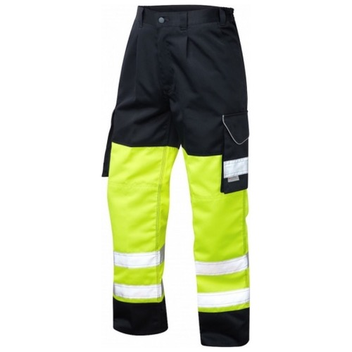 Leo Workwear CT01-Y/NV Bideford Superior Cargo Hi Vis Trouser Yellow / Navy
