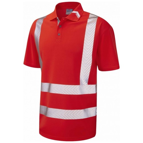 Leo Workwear P09-R BROADSANDS Hi Vis Coolviz Ultra Polo Shirt Red