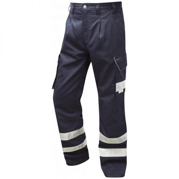 Leo Workwear CT02-NV Ilfracombe Cargo Workwear Navy Hi Vis Trouser