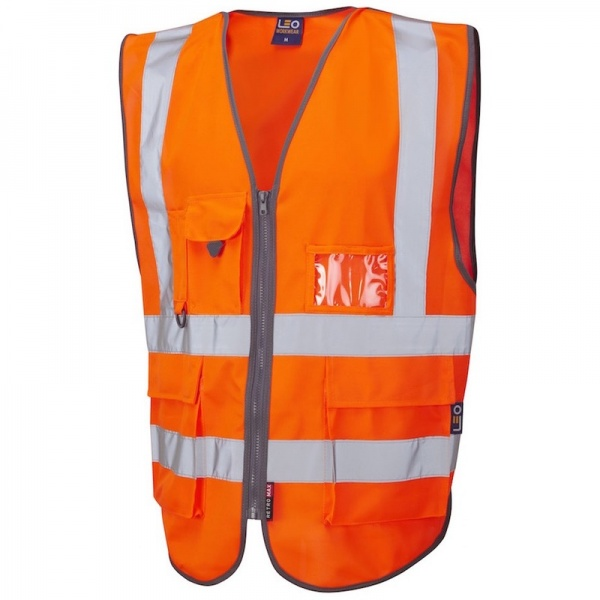 Leo Workwear W22-O Barnstaple Hi Vis Superior Class 2 Railway Waistcoat Orange