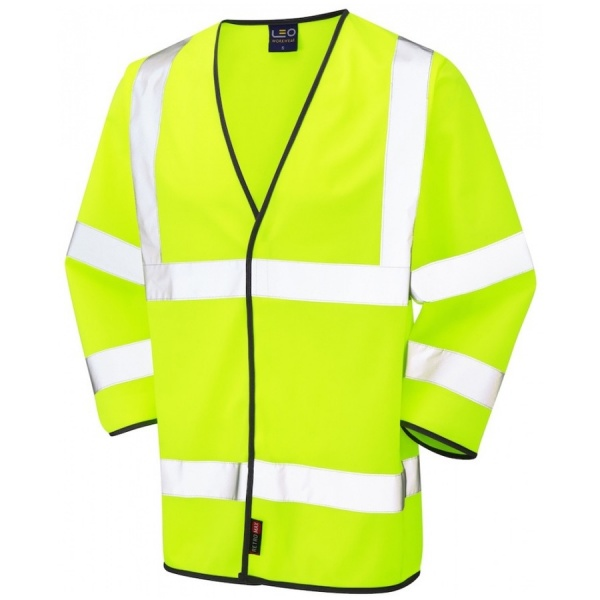 Leo Workwear S03-Y Forches Hi Vis 3/4 Sleeve Waistcoat Yellow