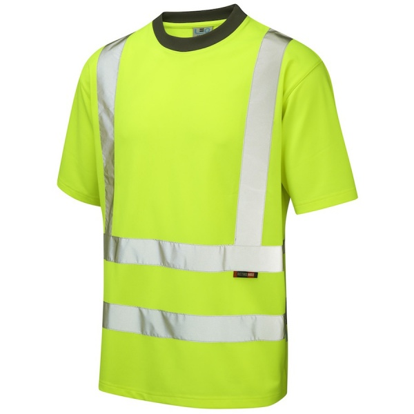 Leo Workwear T02-Y Braunton Coolviz Hi Vis T-Shirt Yellow