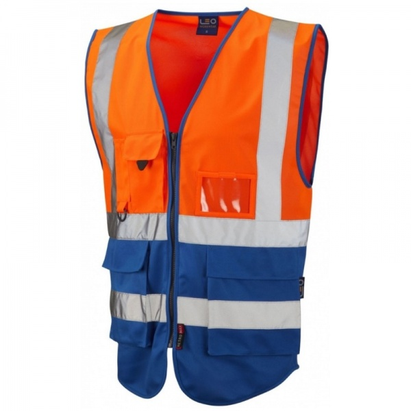 Leo Workwear W11-O/RO Lynton Hi Vis Superior Waistcoat Orange / Royal Blue