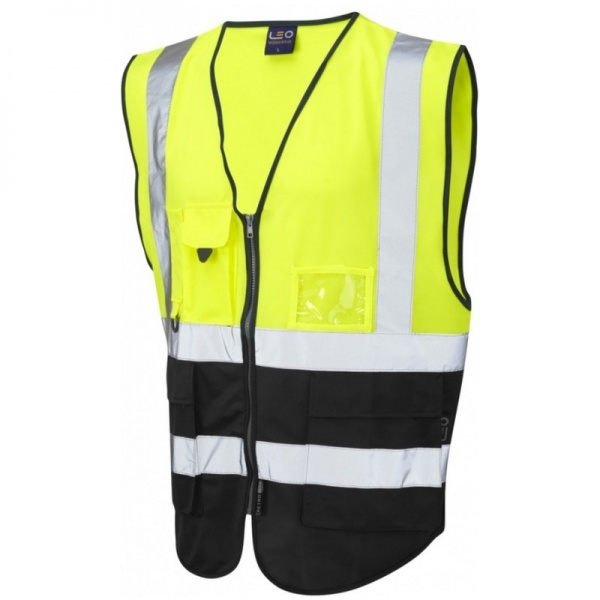 Leo Workwear W11-Y/BK Lynton Hi Vis Superior Vest Yellow / Black