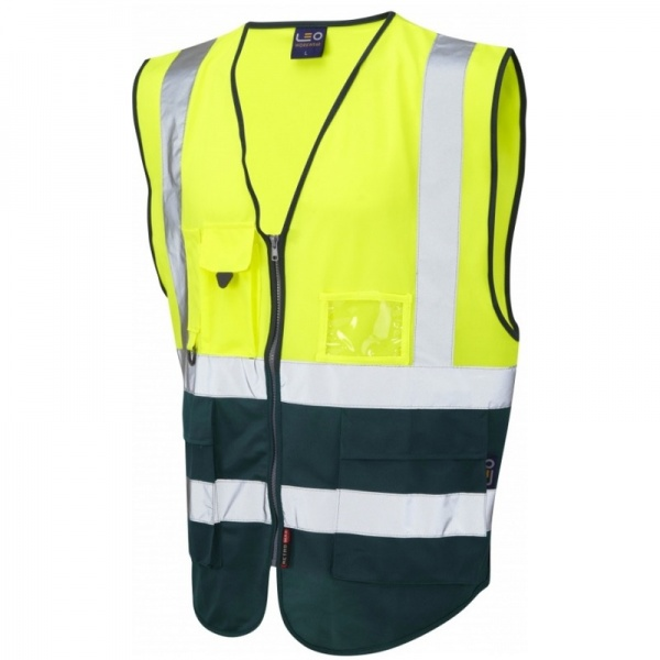 Leo Workwear W11-Y/BT Lynton Hi Vis Superior Waistcoat Yellow / Bottle Green