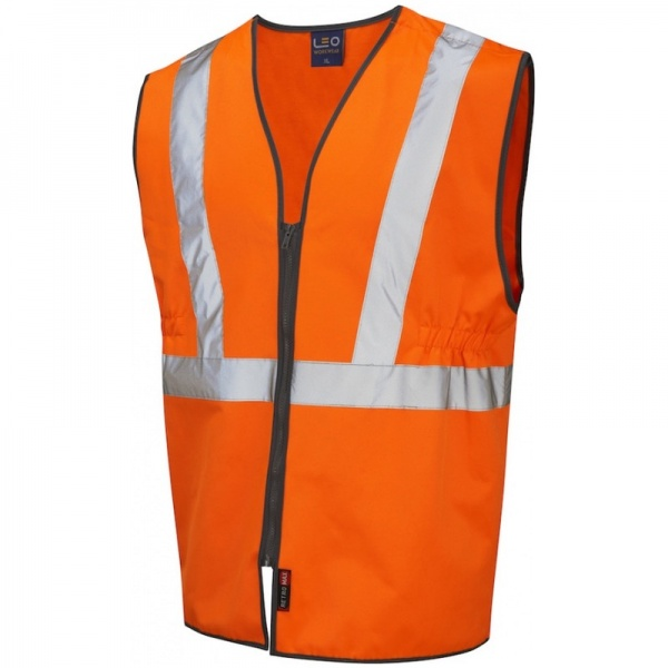 Leo Workwear W16-O Copplestone Railway Plus Waistcoat Zipped Orange