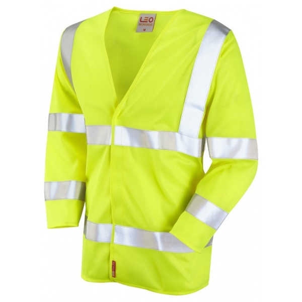 Leo Workwear S10-Y Cranford ISO 20471 Hi Vis Limited Flame Spread 3/4 Sleeve Waistcoat Yellow