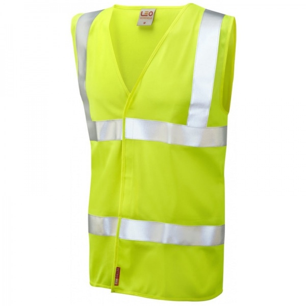 Leo Workwear W08-Y Milford Hi Vis Limited Flame Spread Waistcoat Yellow