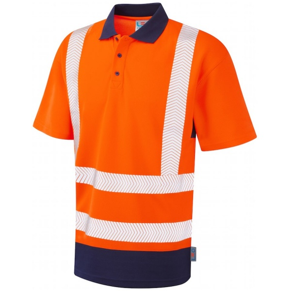 Leo Workwear P11-O/NV Mortehoe Dual Colour Coolviz Plus Hi Vis Polo Shirt Orange / Navy
