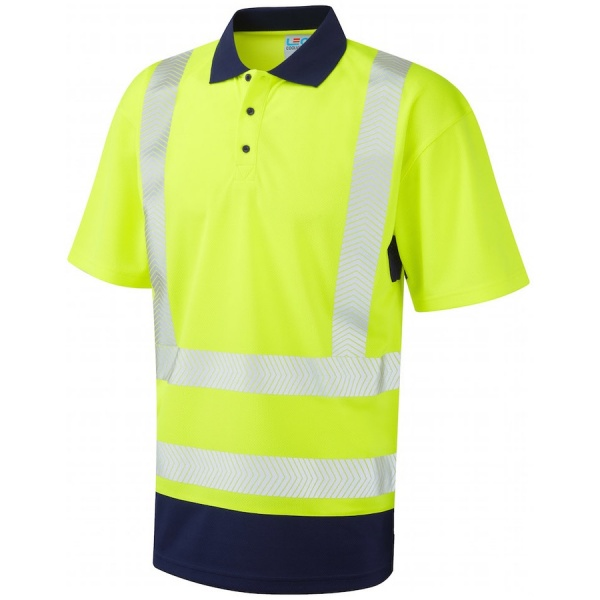 Leo Workwear P11-Y/NV Mortehoe Dual Colour Coolviz Plus Hi Vis Polo Shirt Yellow / Navy