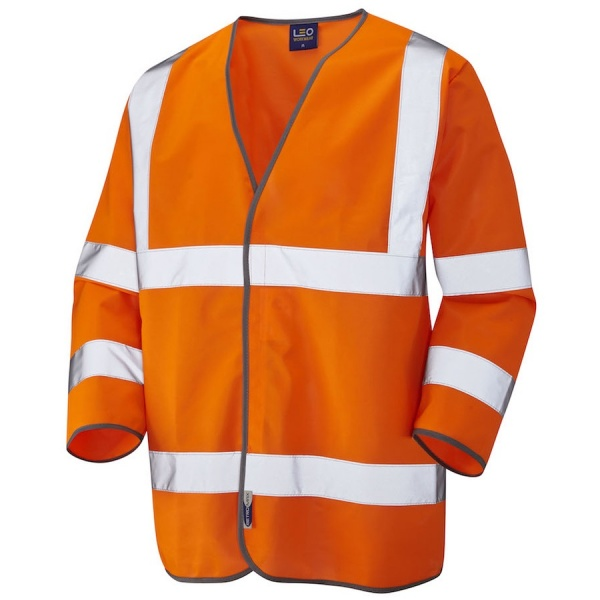 Leo Workwear S03-O Forches Hi Vis 3/4 Sleeve Waistcoat Orange