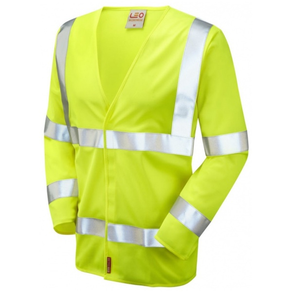 Leo Workwear S11-Y Hi Vis Limited Flame Spread Long Sleeve Waistcoat Yellow