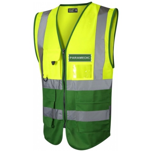 Paramedic Hi Vis Executive Waistcoat Yellow / Emerald Green