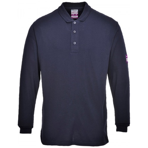 Portwest FR10 Flame Resistant Anti Static Long Sleeve Polo Shirt 200gsm