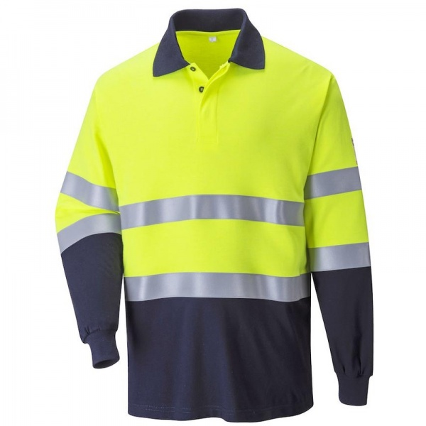 Portwest FR74 Flame Resistant Anti Static Hi Vis Two Tone Polo Shirt