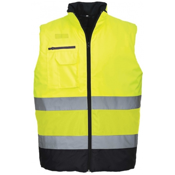 Portwest S267 Hi Vis Two Tone Yellow & Navy Bodywarmer