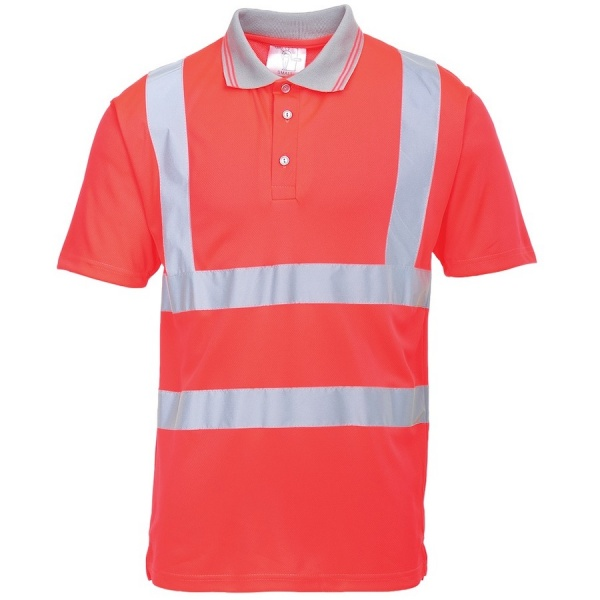 Portwest S477 Hi Vis Short Sleeved Polo Shirt Red