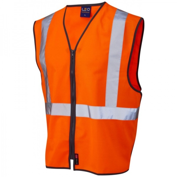 Leo Workwear W15-O Eggesford Railway Vest Waistcoat Zipped Orange