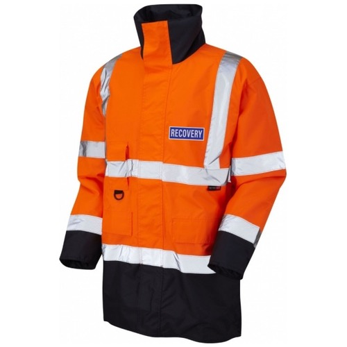 Leo Workwear A01-O/NV Tawstock Hi Vis Recovery Workwear Jacket Orange / Navy With Reflective Badge