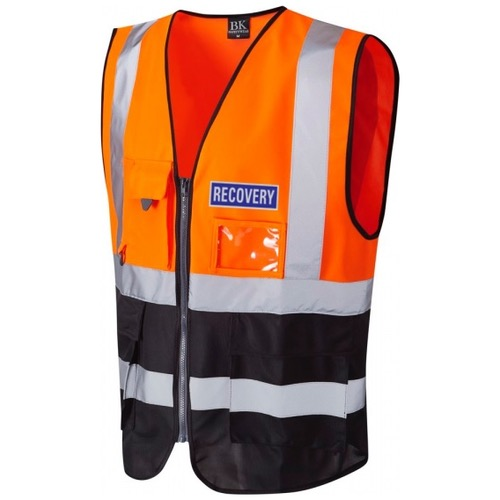 Hi Vis Recovery Workwear Superior Waistcoat Orange / Black With Reflective Recovery Badge