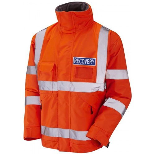 Hi Vis Superior Bomber Jacket Recovery with Fleece Lining Orange, and blue reflective badges