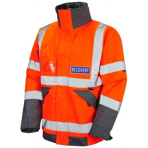 Leo Workwear J02-O Bickington Hi Vis Recovery Workwear Superior Bomber Jacket with Fleece Lining Orange With Reflective Recovery Badges