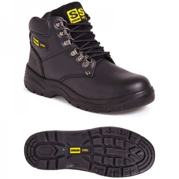 Sterling Steel SS806SM Unisex 6 Eye Hiker Boot Black