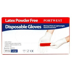 Portwest A915 Powder Free latex Disposable Glove x 100