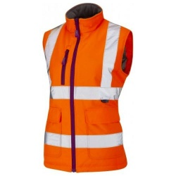 Leo Workwear BWL01-O Hi Vis SANDYMERE Ladies Bodywarmer Orange