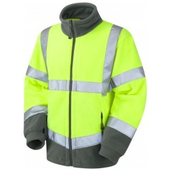 Leo Workwear F01-Y Hartland Two Tone Hi Vis Fleece Jacket Yellow / Graphite Grey