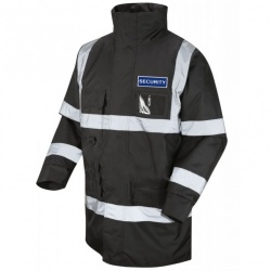 Hi Vis Superior Jacket Black With Blue Reflective Security Badge Front & Back