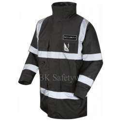 Hi Vis Superior Jacket Black With Reflective Security Badge Front & Back