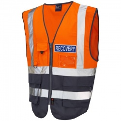 Hi Vis Recovery Workwear Superior Waistcoat Orange / Navy With Reflective Recovery Badge