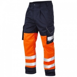 Leo Workwear CT01-O/NV Bideford Superior Hi Vis Trousers Orange / Navy