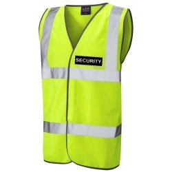 Security Black Hi Vis Waistcoat Yellow