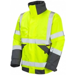 Leo Workwear J02-Y Hi Vis Superior Bomber Jacket with Fleece Lining Yellow