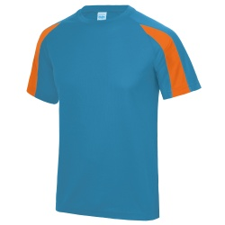 AWDIS Contrast T Shirt Electric Blue/Orange