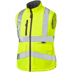 Leo Workwear BWL01-Y Sandymere Hi Vis Ladies Bodywarmer Yellow