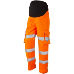 Leo Workwear CM01-O Verity Ladies Maternity Polycotton Cargo Hi Vis Trouser Orange