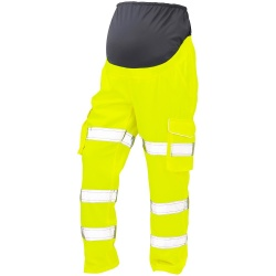 Leo Workwear CM01-Y Verity Ladies Maternity Polycotton Cargo Hi Vis Trouser Yellow