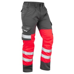 Leo Workwear CT01-R/GY Bideford Superior Hi Vis Trousers Red / Grey