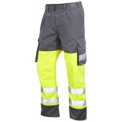 Leo Workwear CT01-Y/GY Superior Cargo Hi Vis Trousers Yellow / Grey